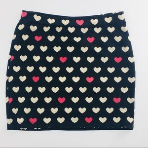 Divided Bodycon Skirt Black White & Pink Hearts